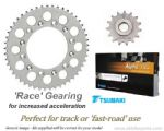 RACE GEARING: Steel Sprockets and GOLD Tsubaki Alpha X-Ring Chain - Honda CBR 600 RR (2003-2006)